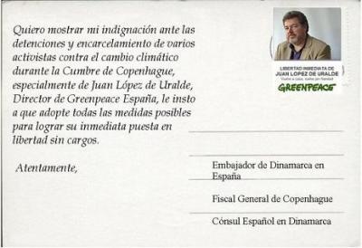 Carta para pedir la liberación de los líderes de Greenpeace